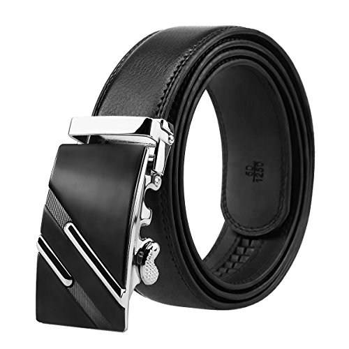 Black Leather Mens Belts 3+1+Box 3 Automatic Ratchet Buckles 1 Belt  With Box
