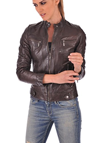 21dbf1f8794 Leather Lovers Women's Lambskin Leather Bomber Biker Jacket ...