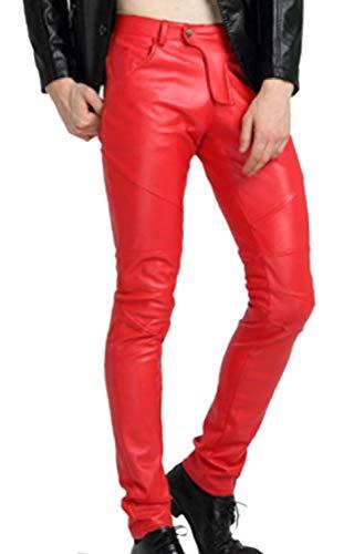 Parevaas Men S Skiny Slim Fit Antique Black Motorcycle Leather Pants Trouser With Zipper Pockets Luxuryleathershop Com